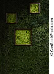 scuro, parete, verde, muschio