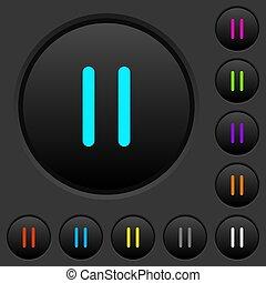 scuro, pausa, icone, colorare, media, bottoni, spinta