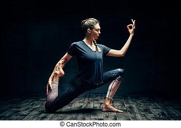 scuro, re, piccione, asana, giovane, yoga, uno, stanza,...