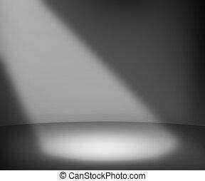 scuro, riflettore, fondo, stanza