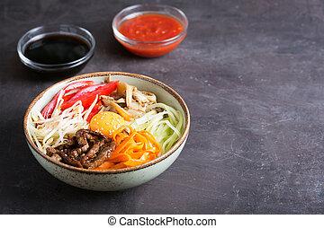 scuro, riso, spazio, verdura, tradizionale, asiatico, fondo, piatto, pietanza, copia, bibimbap