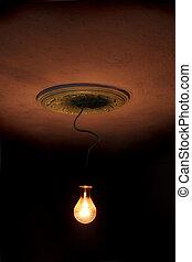 scuro, room., lampada