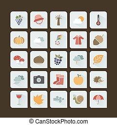 scuro, set, colorare, autunno, fondo, icona