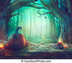 scuro, sinistro, halloween, forest., tema, zucche