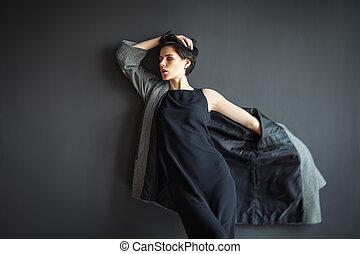 scuro, solitario, movimento, moda, proposta, fondo, ragazza