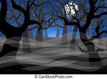 scuro, spettrale, pieno, foresta, luna