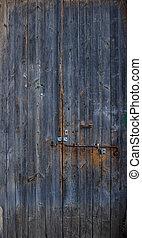 scuro, su, porta, blu, legno, sbucciato, arrugginito, details., fondo., latch., chiudere, vuoto, vecchio, bandiera