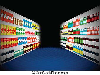 scuro, supermercato, corridoio, mensole