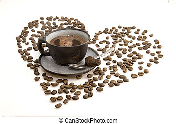 scuro, tazza caffè, mattina