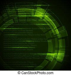 scuro, tecnico, astratto, sfondo verde