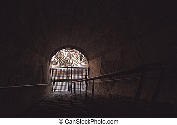 scuro, tunnel, e, gate.