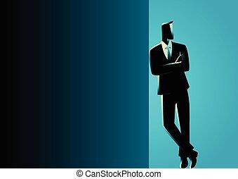 scuro, uomo affari, sporgente, spazio bianco
