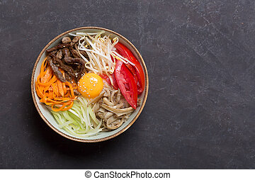 scuro, verdura, tradizionale, asiatico, fondo, piatto, pietanza, riso, bibimbap