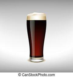 scuro, vetro, birra
