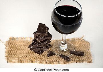 scuro, vino, tela ruvida, rosso, cioccolato