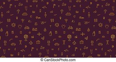 scuro, viola, icone, viaggiare, line-art, fondo., fondo, oro