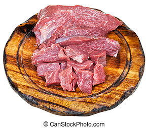 scut raw beef meat on wooden board