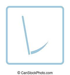 Scythe icon. Blue frame design. Vector illustration.