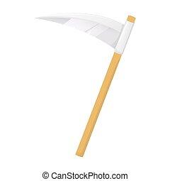scythe on white background