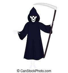 scythe., vektor, ilustrace, smrt, předvečer všech svatých