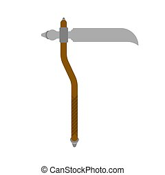 Scythe weapon isolated. Old medieval weapon for warriors.