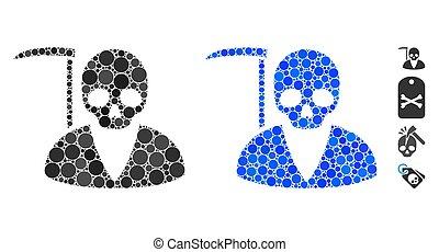 scytheman, mozaika, věc, ikona, kulový