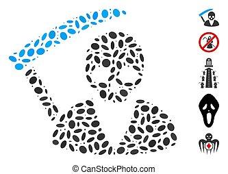 scytheman, pointillé, collage