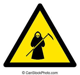 scytheman, raster, signe, triangle, icône, avertissement