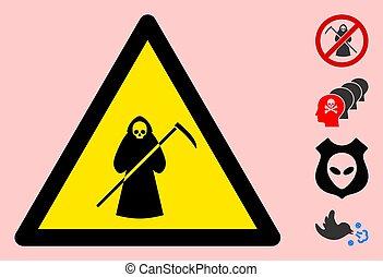 scytheman, signe, triangle, icône, vecteur, avertissement