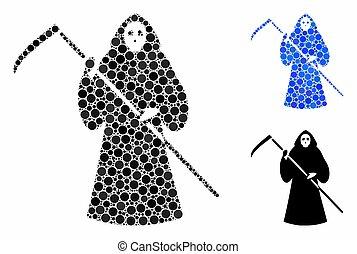 scytheman, věc, kulový, mozaika, ikona