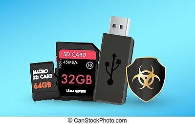 SD card Micro SD card and  usb flashdrive  with a protection shield antivirus computer