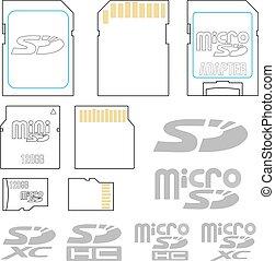 SD card symbols - Secure digital, mini and micro SD flash...