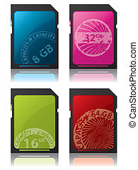 Sd cards with grunge labels - Sd cards with colored grunge...