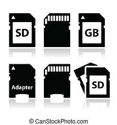 SD, memory card, adapter icons set - Memory card vector...