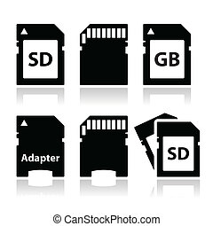 Memory card vector black icons set with reflection isolated on white