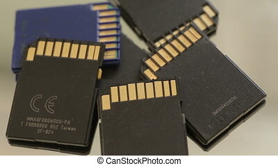 SD Memory cards rotating - Shot of SD Memory cards rotating
