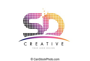 SD S D Letter Logo Design with Magenta Dots and Swoosh - SD...