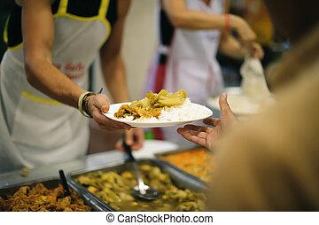 sdf, nourriture, pauvre, charité, concept, chaud, :, donner