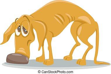 sdf, triste, dessin animé, illustration, chien