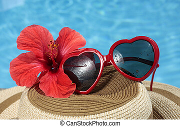 SDummer Still Life - Fuky sunglasses on a summer hat with a...