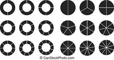 seção, círculo, jogo, segmentos, mapa