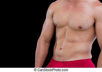 seção, homem, meio, muscular, shirtless