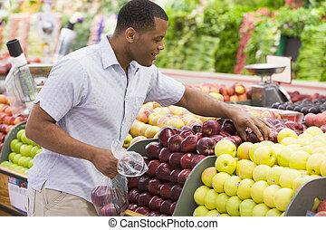 seção, produto, shopping, homem