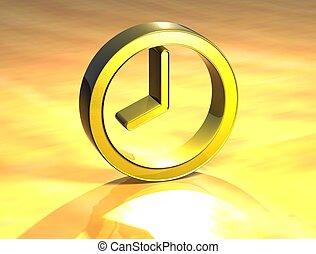 señal, 3d, oro, reloj