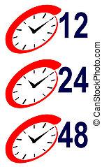 señal, 48, reloj, hora, 12, 24