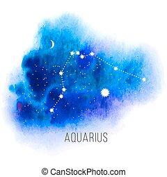señal, acuario, astrología, acuarela, fondo.