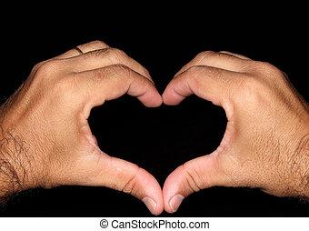 señal, amor, manos