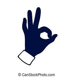 señal, aprobar, gesto, mano
