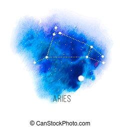 señal, aries, astrología, acuarela, fondo.