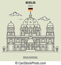 señal, berlín, germany., catedral, icono